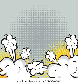 Illustration of an explosion or fight in comics. vector illustration