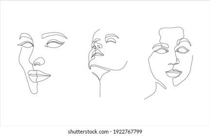 illustration of expressive and elegant woman's faces in one line art style. continuous drawing in vector best used for skincare and beauty product icon package, art prints, posters, etc.