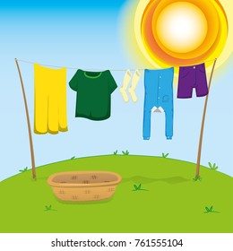 Illustration of an external environment, clothesline with clothes outstretched to dry. Ideal for catalogs, information and institutional material