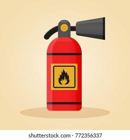 Illustration of extinguisher in flat design concept