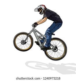 illustration of extreme freerider on mountain bike