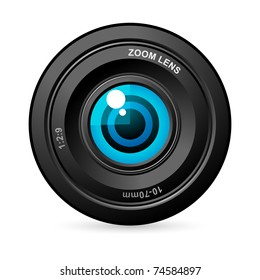 illustration of eye balls in camera lens on white background