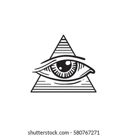 illustration of eye, the eye in the pyramid tattoo