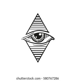 illustration of eye, the eye in the rhombus tattoo
