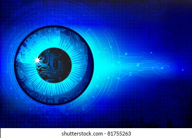 illustration of eye in technological background