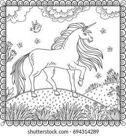 The illustration with a fabulous unicorn on a background of a fantastic world around flowers, grass and other plants. Coloring book