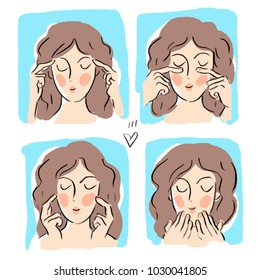 Illustration with face fitness massage beauty