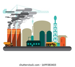 An illustration of a factory in operation. Producing material for development