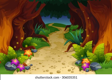 Illustration of fairy forest Cartoon fairytale landscape