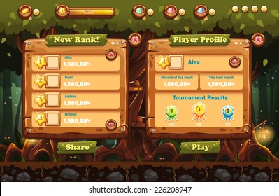 Illustration of the fairy forest at night with flashlights and examples of screens, buttons, bars progression for computer games and web design. Set 1.