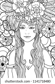 Illustration of fairy with long hair in elegant dress surrounded by primula flowers and leaves. Black and white fantasy art. Vector illustration for coloring page.