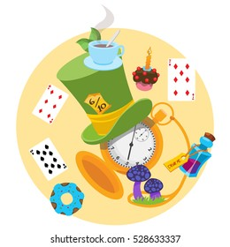 Illustration to the fairy tale Alice's Adventures in Wonderland. Green hat, playing cards, pocket watch, the elixir, mushrooms.