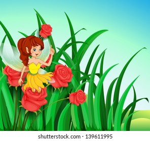 Illustration of a fairy with a yellow dress at the garden