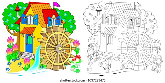 Illustration of fairyland toy water mill. Colorful and black and white pattern for coloring. Worksheet for children and adults. Vector image.