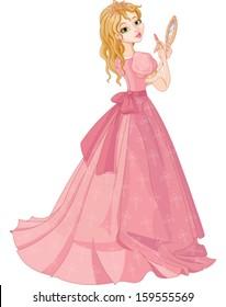 Illustration of fairytale princess putting on lipstick