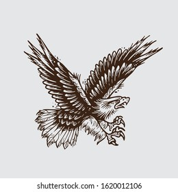 Illustration of falcon with old tattoo style