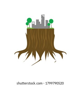 Illustration of a fallen tree growing in an urban area. Isolated vector