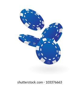 Illustration of Falling Blue Poker Chips Isolated on White