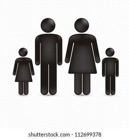 illustration of a family in 3d, vector illustration