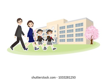 Illustration of family going to elementary school entrance ceremony
