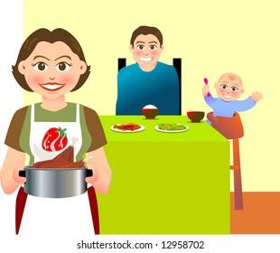 Illustration for a family having their dinner at home.