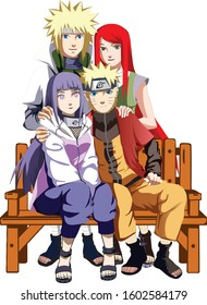 illustration of a family image in the anime