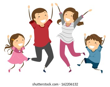Illustration of a Family Jumping and Waving Their Arms in the Air in Joy