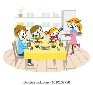 Illustration of family meal.