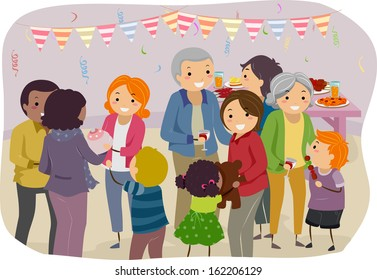 Illustration of a Family Mingling With the Visitors of a Family Gathering
