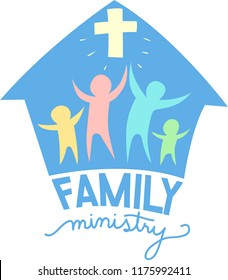 Illustration of a Family Ministry Lettering Design with a Cross, Family Icon and Church
