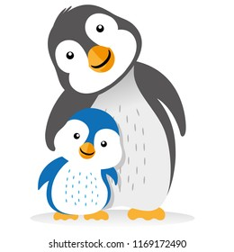 Illustration of family penguin, cub, bird, feathered mom. Ideal for educational and informational materials