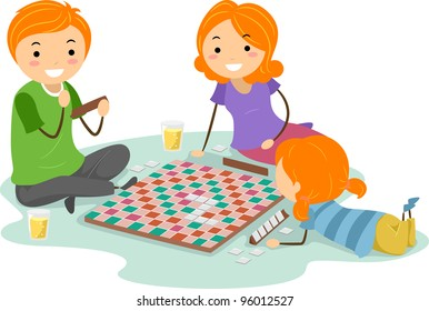 Illustration of a Family Playing a Board Game