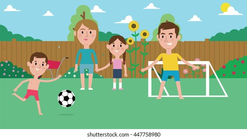 Illustration Of Family Playing Soccer In Garden Together