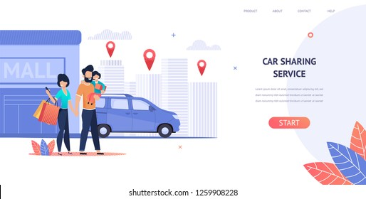 Illustration Family Rent Car near Shopping Mall. Vector Banner Smart Car Sharing Service any Location City. Woman Uses Mobile Application on Phone. Man Hold Daughter Hand. Husband and Wife. Cityscape