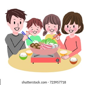 Illustration of a family surrounding a pot