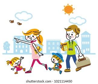 Illustration of family travel.