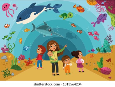 Illustration of a Family Visiting an Aquarium
