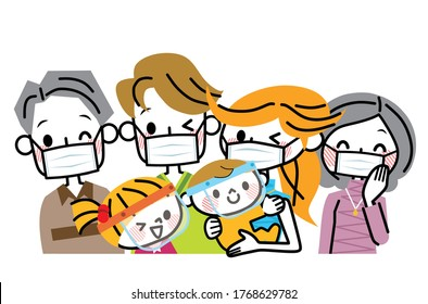Illustration of a family wearing masks.