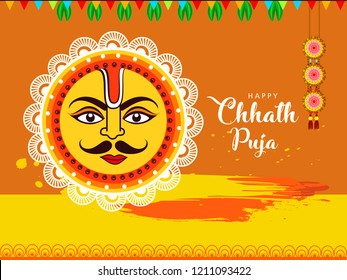 illustration of famous Happy Chhath Puja  Holiday background for Sun festival by womens  of Bihar India