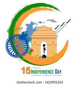 """illustration of Famous Indian Gate and Indian army memorial For Independence Day concept """"Happy Independence Day""""-15th August."""