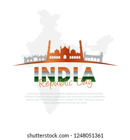 illustration of Famous Indian monument and Landmark for Happy Independence Day of India, india flag, 26 january, independence day, map india
