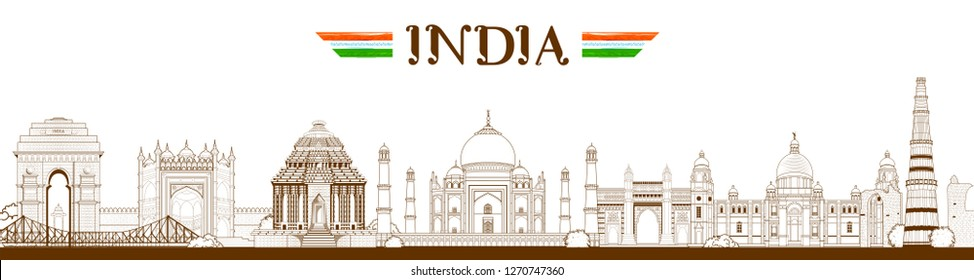 illustration of Famous Indian monument and Landmark like Taj Mahal, India Gate, Qutub Minar and Charminar for Happy Republic Day of India