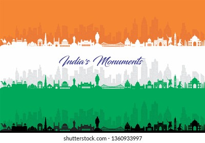 illustration of Famous Indian monument and Landmark