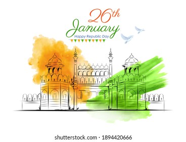 illustration of Famous Indian monument Red Fort for 26th January Happy Republic Day of India