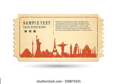 illustration of famous monument around the world on ticket