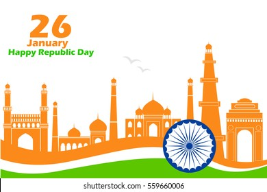 illustration of famous monument in Indian background for Happy Republic Day