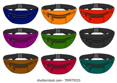 Illustration of fanny pack (waist pouch) / color variations