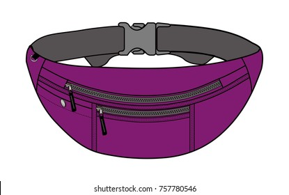 Illustration of fanny pack (waist pouch) / purple