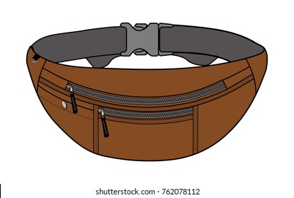 Illustration of fanny pack (waist pouch) / brown