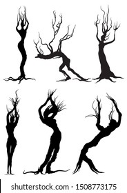 Illustration fantasy bizarre trees silhouettes like people